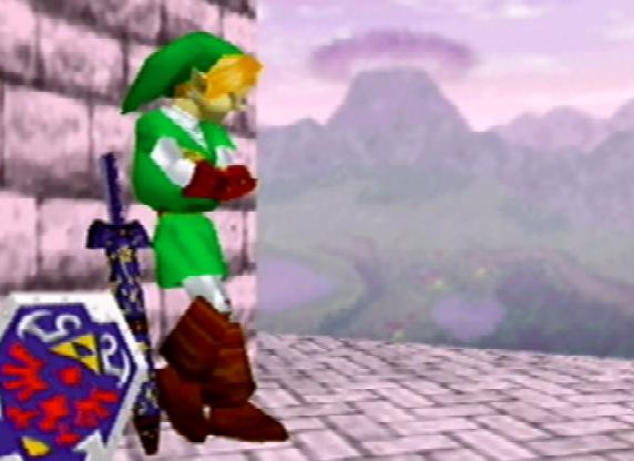 Link top of hyrule castle super smash bros original stage ending single player N64 nintendo zelda